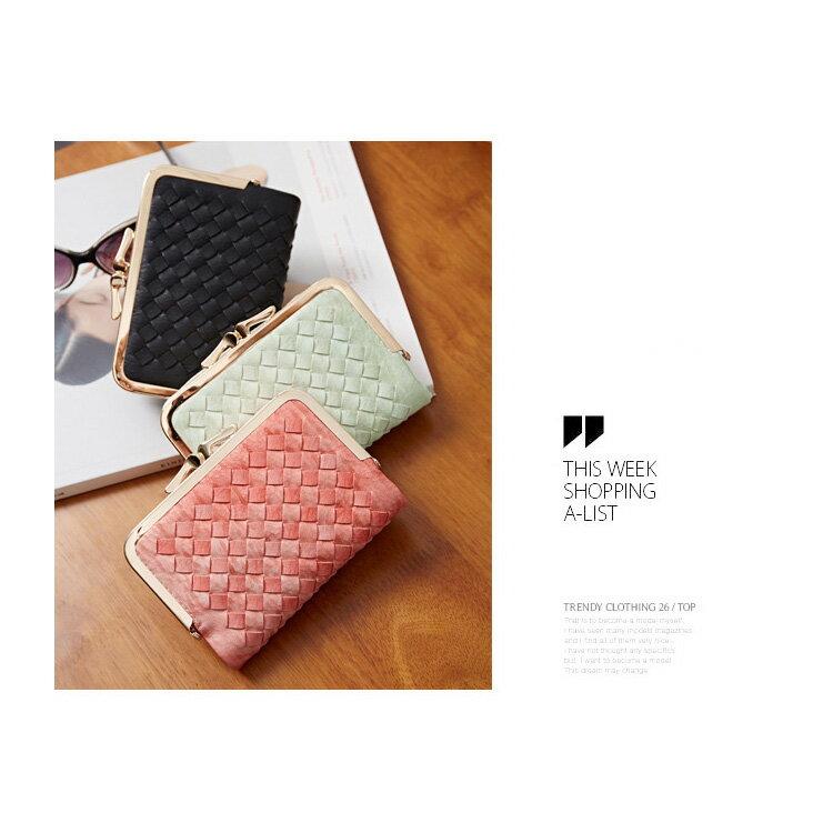 短夾 邊織雙珠扣皮夾卡包錢包短夾【WNB510-6B】 BOBI  12/01 2