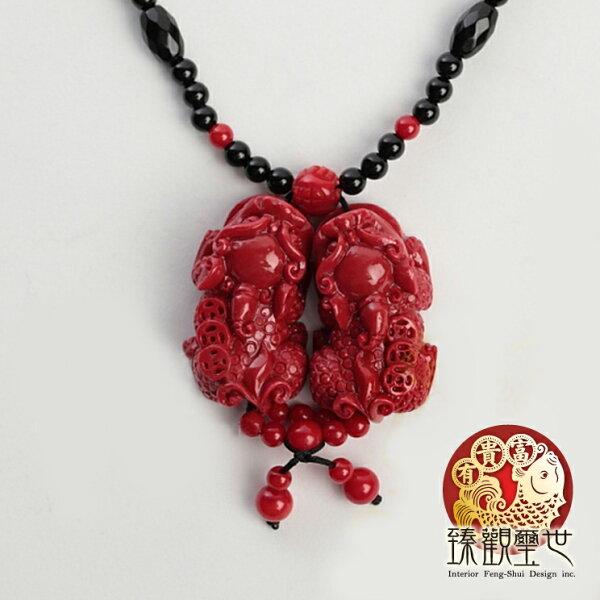 【限量39折 滿額折百】 貔貅  狂銷紅珊瑚貔貅串珠項鍊 開光  臻觀璽世 IS0518