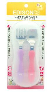 EDISON 日本進口迪士尼幼兒學習湯叉組 /  不鏽鋼叉匙組 (含收納盒) - 粉/ 紫 兒童餐具