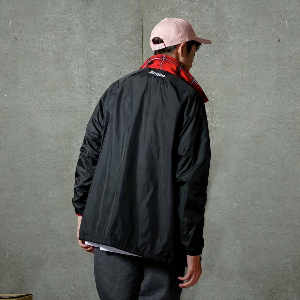 STAGE CREW COACH JACKET 黑色 / 紅色 3