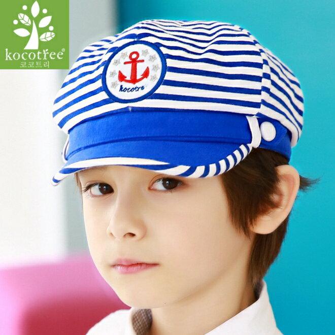 Kocotree◆ 帥氣條紋海軍風刺繡船錨兒童 鴨舌帽~海軍藍