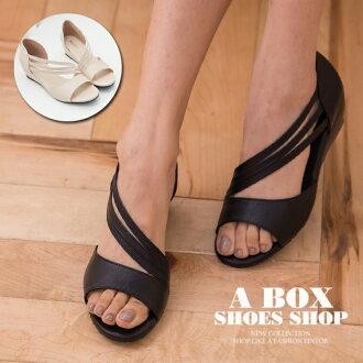 格子舖*【KDW7803】MIT台灣製 氣質典雅舒適輕便 流線側踝顯修長後包覆 4CM楔形涼鞋 2色