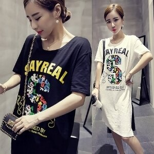 美麗大街【IR2239】可愛米奇米老鼠印花短袖長版T恤
