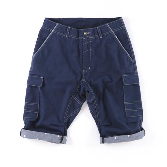 哈克褲/自在式長短褲。深藍色 0