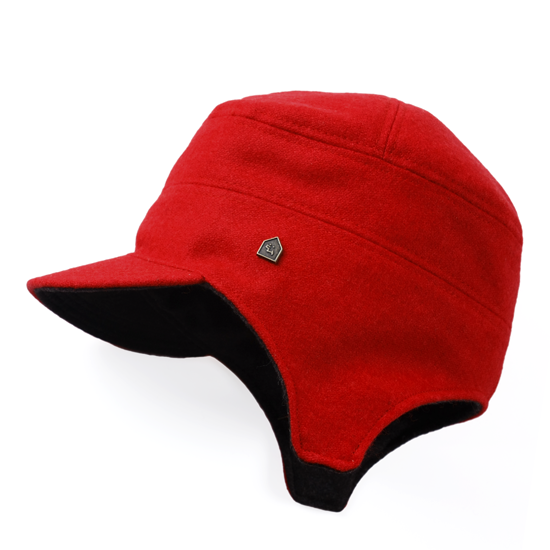 飛行帽/毛料紅配深灰色款 - 限時優惠好康折扣