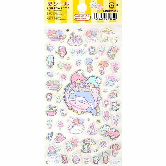 【真愛日本】16042200066貼紙-TS夏日划船    三麗鷗家族 Kikilala 雙子星    貼紙 黏貼 卡片裝飾 文具