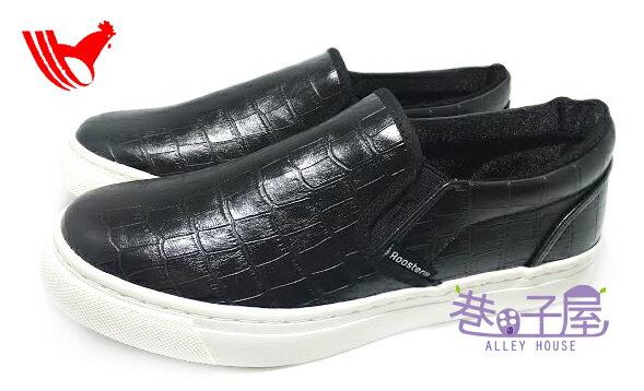 【巷子屋】ROOSTER公雞 男款鱷魚皮革紋造型懶人休閒鞋 [2025] 黑 MIT台灣製造 超值價$198