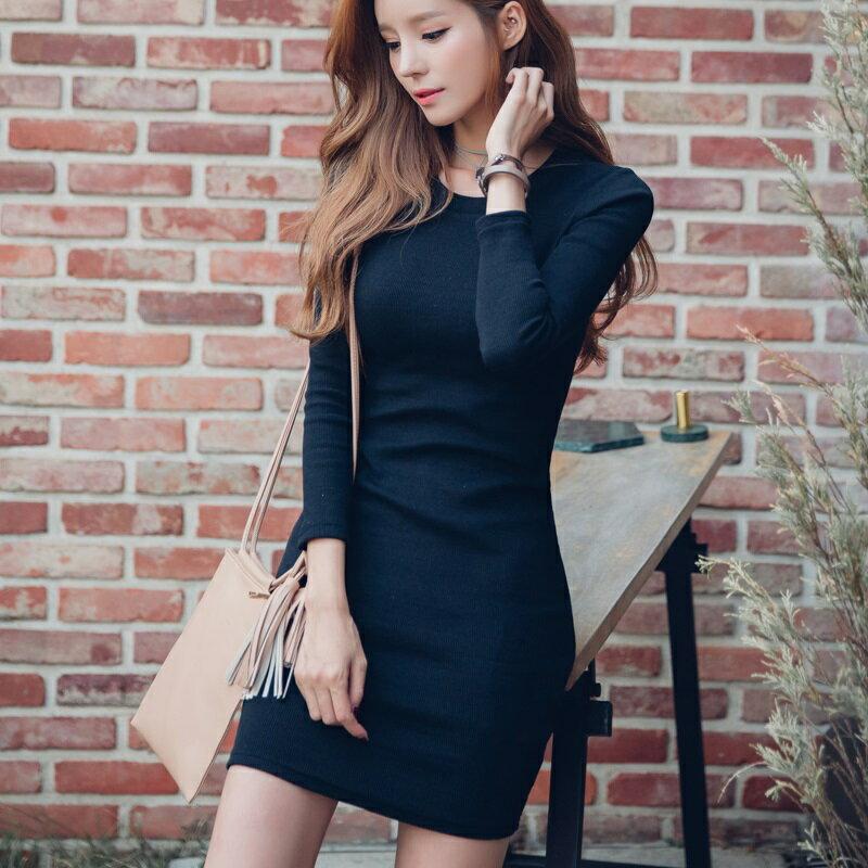 PS Mall 復古酒紅短裙修身顯瘦百搭針織連身裙 洋裝~T4285~ ~  好康折扣