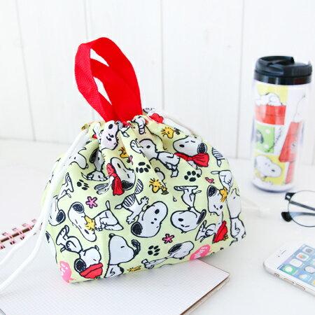 正版史努比束口餐具袋 台灣製 便當袋 午餐袋 手提包 手提袋 收納袋 萬用袋 Snoopy 史奴比【N200675】