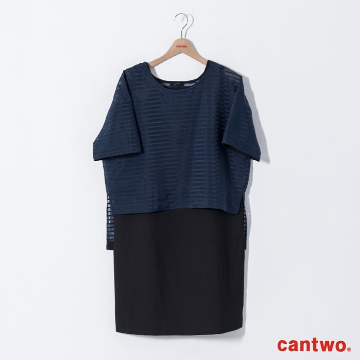 cantwo極簡H型格紋薄紗兩件式洋裝(共二色) 6