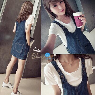 【V0787】shiny藍格子夏約輕甜.時尚顯廋前後雙口袋造型吊帶牛仔裙