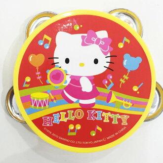 Hello Kitty 鈴鼓 手搖鈴 圓形鈴鼓 樂器 玩具 39元 日本限定販售 正版日本進口 * JustGirl *