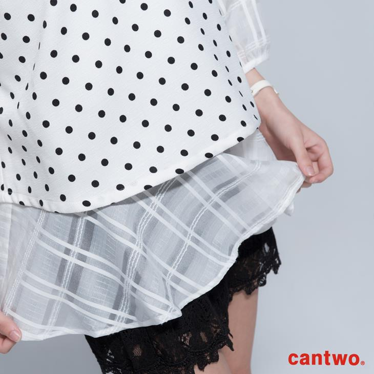 cantwo點點雪紡雙層傘狀五分袖上衣(共三色) 4