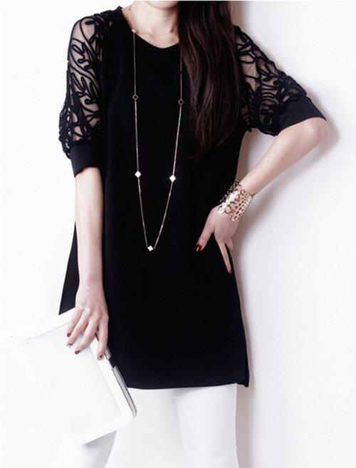 洋裝 - 蕾絲露肩五分袖長版上衣 【27009】藍色巴黎 《2色》現貨+預購 1