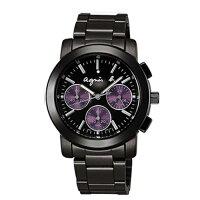 agnès b.到AGNES.B/浪漫時尚經典腕錶/黑*紫/V654-0AE0鐵