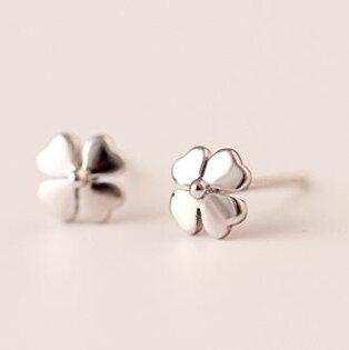 Tokyo Alice 925純銀簡約幸運草耳環,飾品首飾耳飾貼耳針飾品(se0000043)