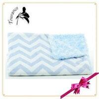 彌月禮盒推薦★啦啦看世界★ 美國製 Tourance 朵蕾花苞毯 / 巴黎頑童粉藍花苞 彌月禮 出生禮 月子 嬰兒 寶寶毯 嬰兒毯 滿月 安心 保暖