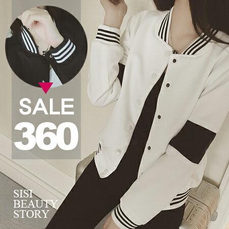 SISI【C6003】韓版率性立領寬鬆黑白撞色長袖休閒棒球服夾克外套開衫外套