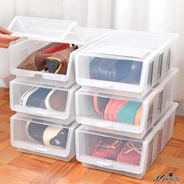 鞋櫃『日本MAKINOU前開可疊透明鞋盒3入組』台灣製 掀蓋收納櫃 牧野丁丁