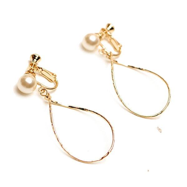 Pearl Post & Drop Hoop Earring 水滴狀圈圈珍珠耳扣夾式耳環