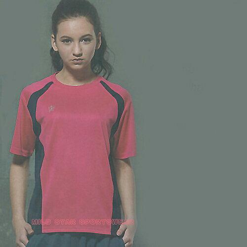MILD STAR 男女吸濕排汗短T恤-桃紅#AS600912 0