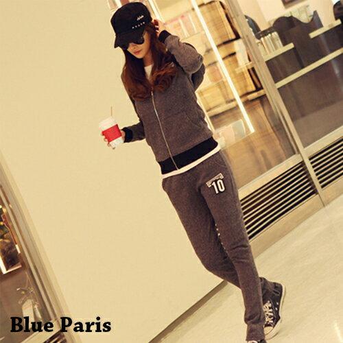 套裝 - 雙色麻花貼布造型腰綁鬆緊帶連帽套裝【29184】藍色巴黎 - 現貨 + 預購 0