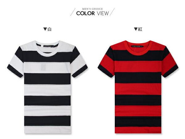 ☆BOY-2☆【NM1087】短袖T恤簡約型男韓流素面修身粗橫條紋短T 1