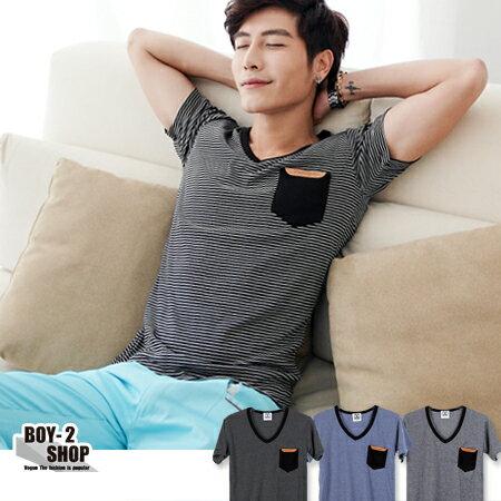☆BOY-2☆【JJ230】皮革口袋V領細條紋短T-3色 現+預 0