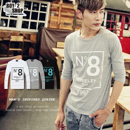 ☆BOY-2☆ 【PPK86016】長袖T恤韓式N。8燙印 1