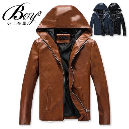 ☆BOY-2☆【NC3427】連帽外套簡約潮流素色皮衣外套 0