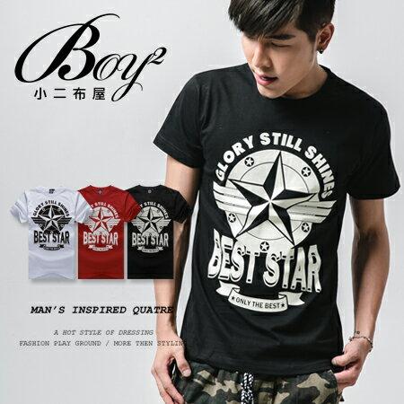 ☆BOY-2☆【ND4861】短袖T恤美式潮流星星條橫英文印花短T 0