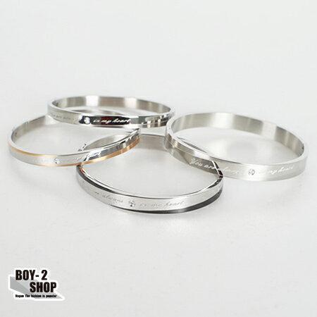☆BOY-2☆【NGL0061】質感鑲鑽英文金屬手環-3色 現+預 0