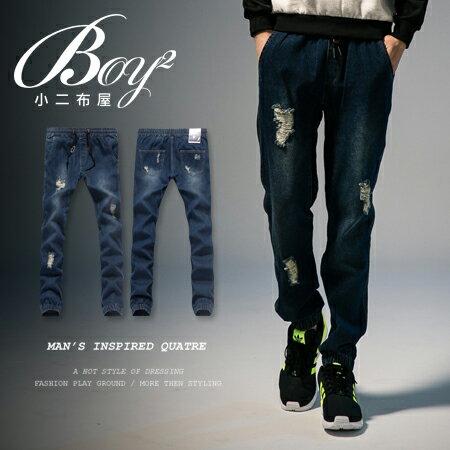 ☆BOY-2☆【NM1378】鬼洗牛仔褲休閒抽繩刷破縮口丹寧褲 0