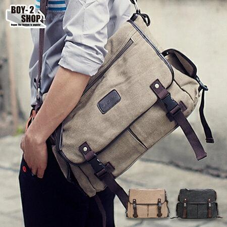 ☆BOY-2☆【NQA5058】大容量多口袋帆布皮革側背包-2色 現+預 0