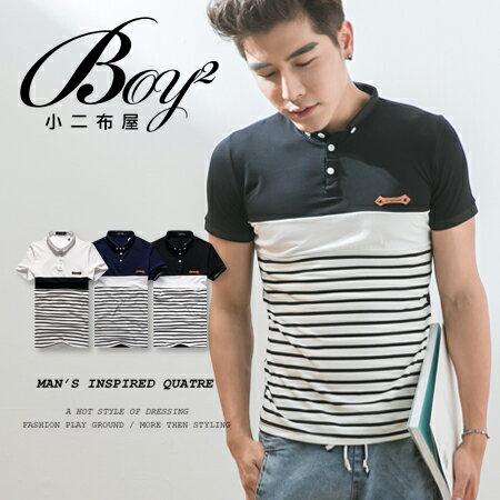 ☆BOY-2☆【NQEG9805】POLO衫休閒簡約素面拼接橫條紋皮標短袖POLO衫 0