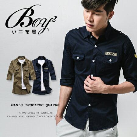 ☆BOY-2☆【NQOS6806】七分袖襯衫潮流簡約素面雙口袋軍裝襯衫 0