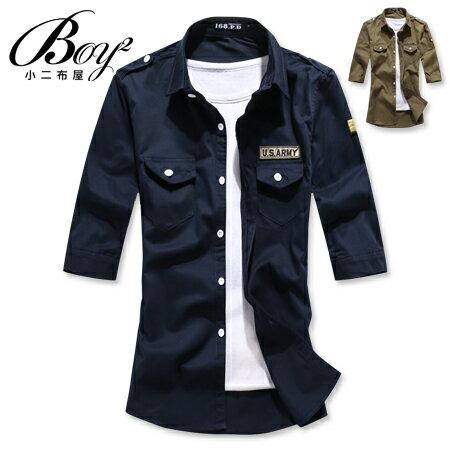 ☆BOY-2☆【NQOS6806】七分袖襯衫潮流簡約素面雙口袋軍裝襯衫 1