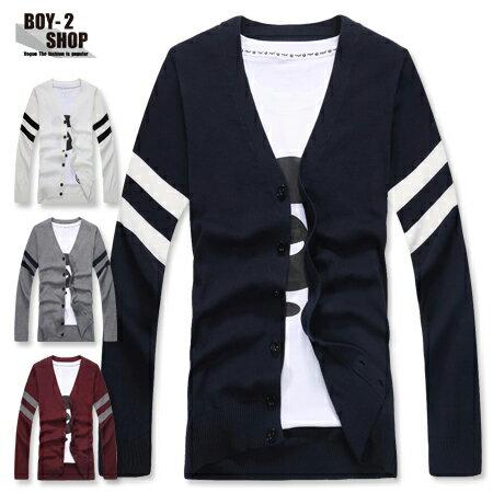 ☆BOY-2☆【NR10530】雅痞雙條紋針織外套 0