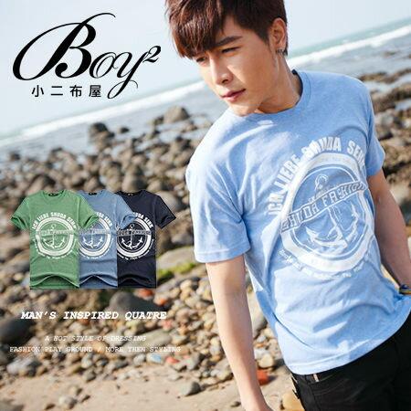 ☆BOY-2☆【NR73581】短袖T恤韓版簡約休閒船錨印花圖騰水手短T 0