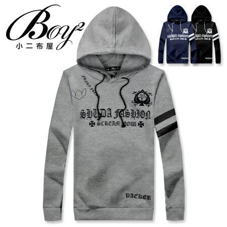☆BOY-2☆ 【NR75000】韓版抽繩連帽長袖T恤黑桃A雙條紋刷毛 0