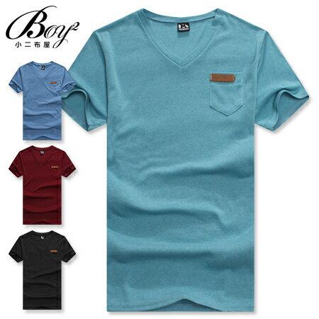 ☆BOY-2☆【OE20003】短袖T恤韓流休閒素面皮標口袋短T 0