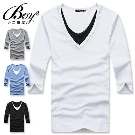 ☆BOY-2☆【PPK82005】韓版質感素面假內裡7分T 1