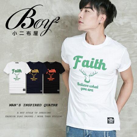 ☆BOY-2☆【PPK82098】短袖T恤休閒簡約配色素面Faith鹿頭短T 1