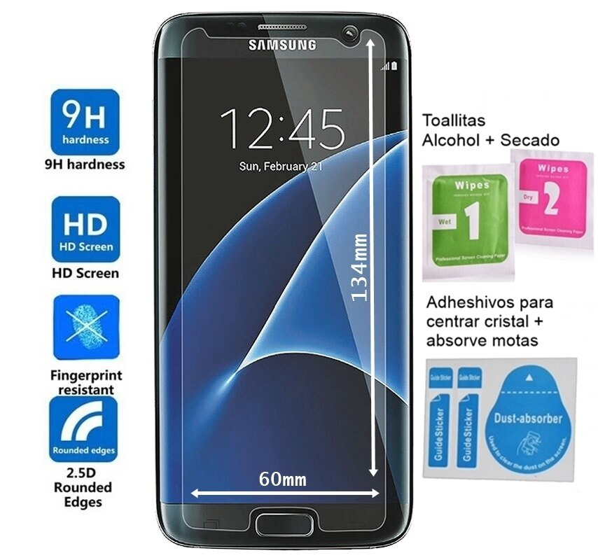 Protector Pantalla Cristal Vidrio Templado Samsung Galaxy S7 . (TAMAÑO REDUCIDO DEBIDO AL 2.5D QUE TIENE LA PANTALLA DEL TERMINAL 0