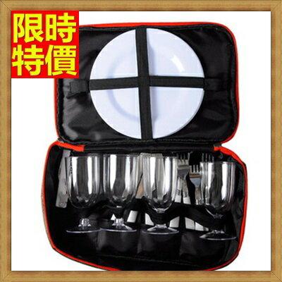 野餐包+2人餐具組手提包-防滑底座柔軟提手可拆兩用摺疊野餐包+68ag36【獨家進口】【米蘭精品】