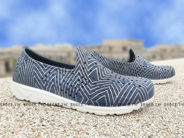《限時特價79折》Shoestw【62U1SA61DB】PONY TROPIC 水鞋 軟Q 防水 懶人鞋洞洞鞋 深藍銀線 親子