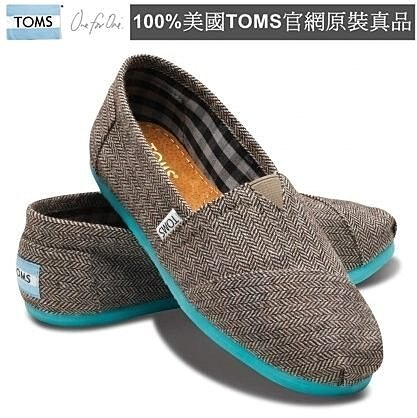 【Cadiz】美國真品正品TOMS 藍底灰面撞色平底鞋 [Teal Pop Herringbone Women's Classics/ 代購/ 現貨] 0
