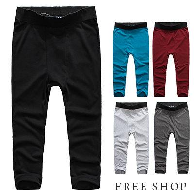 Free Shop【QM88043】歐美潮流系全素色素面彈性棉質內搭七分褲內搭褲‧五色