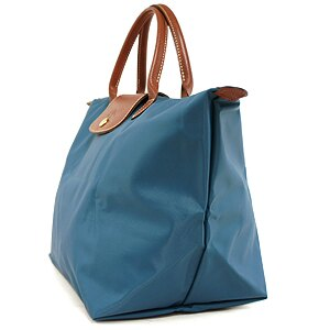 [1623-M號]國外Outlet代購正品 法國巴黎 Longchamp  短柄 購物袋防水尼龍手提肩背水餃包 孔雀藍 2