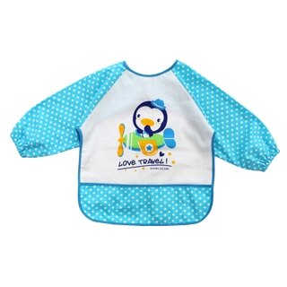 『121婦嬰用品館』PUKU 長袖防水圍兜衣 -藍 0